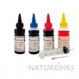 Natureinks 4 refill Black Cyan Magenta Yellow Bottles Set 400ml With 4x 30ml Syringes